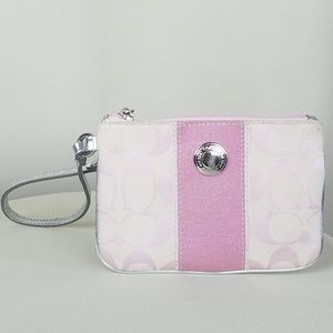 Coach Wristlet Signature Pink Silver Zipper Used